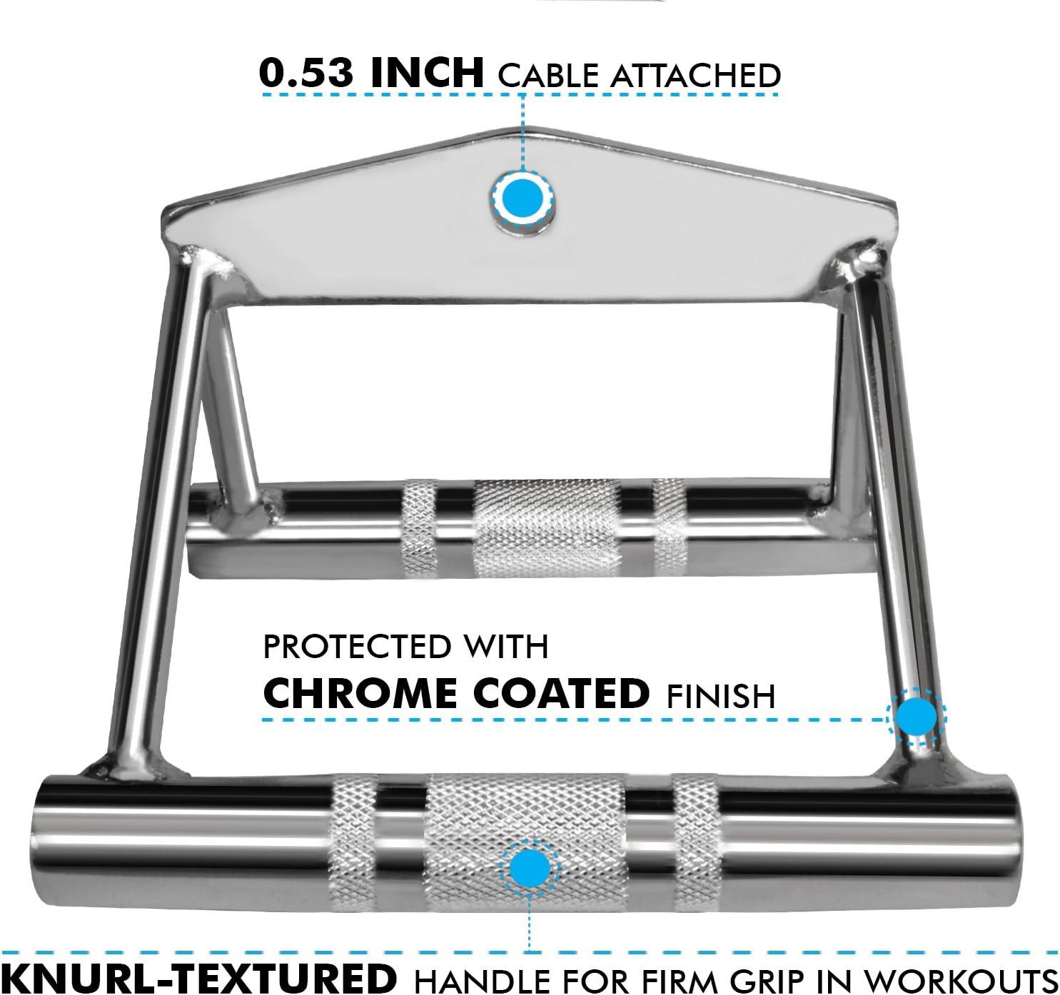 Corda per tricipiti Bar A2ZCARE Combo Tricep Press Down Cavo Attacco Multi-Option: Doppio Manico D a V Rotante con Barra