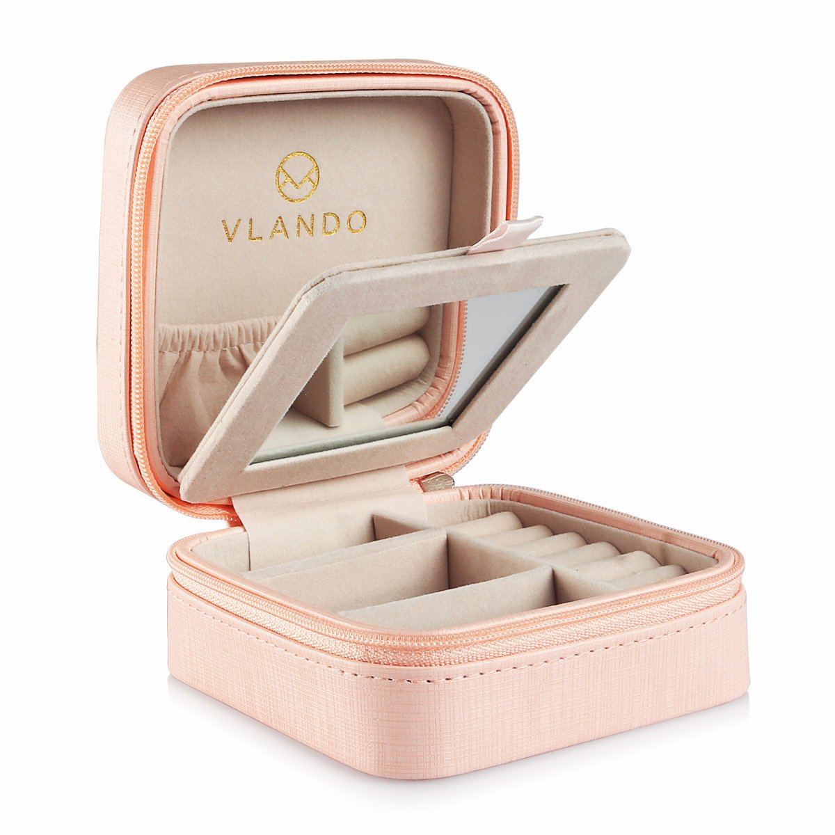 Vlando Macaron Small Jewelry Box with Mirror, Travel Storage Case for Rings and Earrings -Pink
