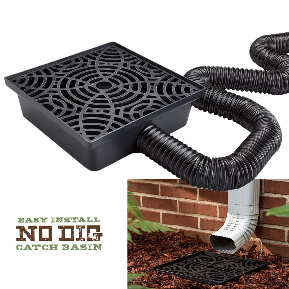 12-in. No Dig Low Profile Catch Basin Downspout Extension Kit, Black by Wholesale Plumbing Supply