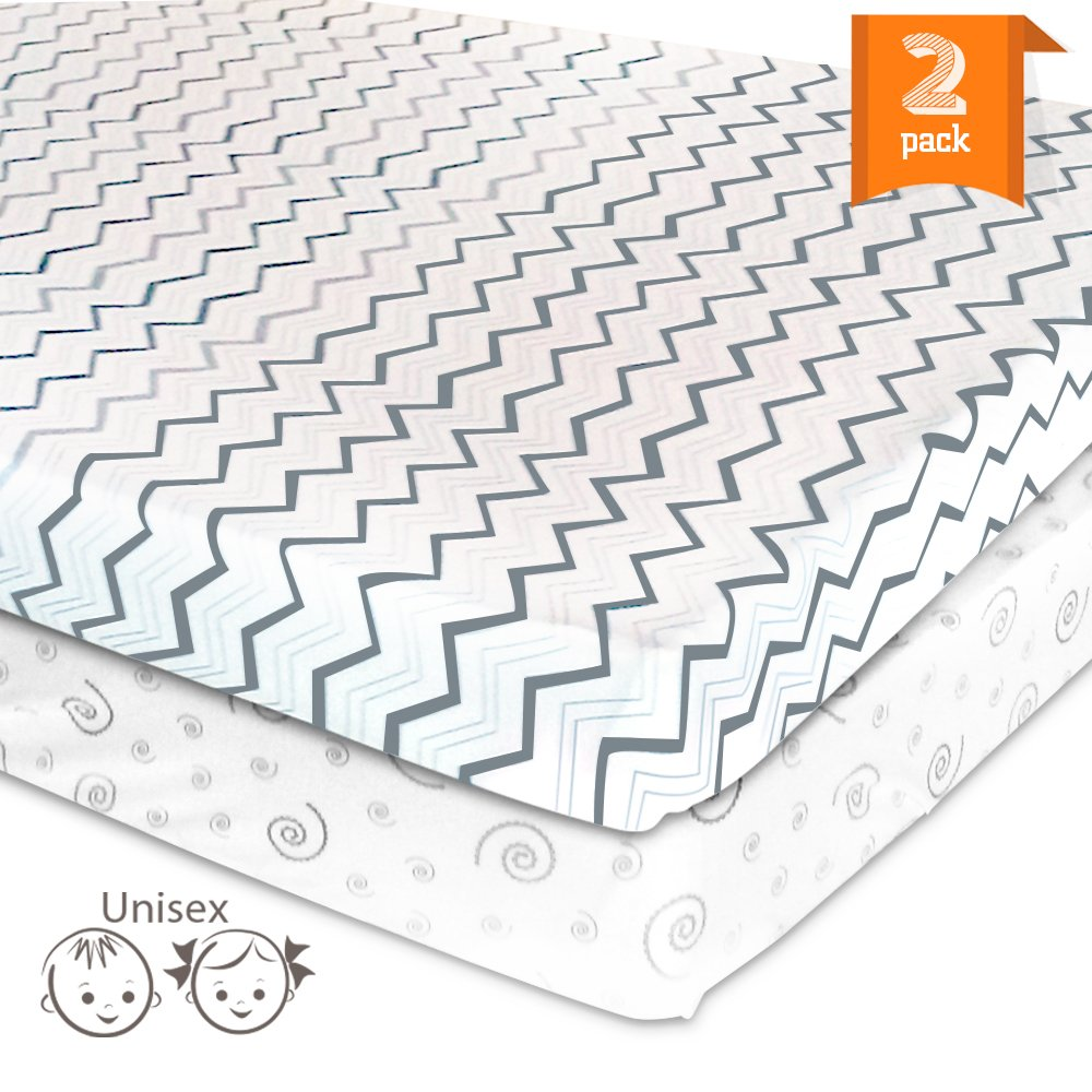 Pack N Play Playard Portable Mini Crib Sheet Set – 2 Pack Jersey Cotton Playpen Fitted Sheets – Grey/White Unisex Bedding for Baby Boy and Baby Girl SDKings MB0060108UN