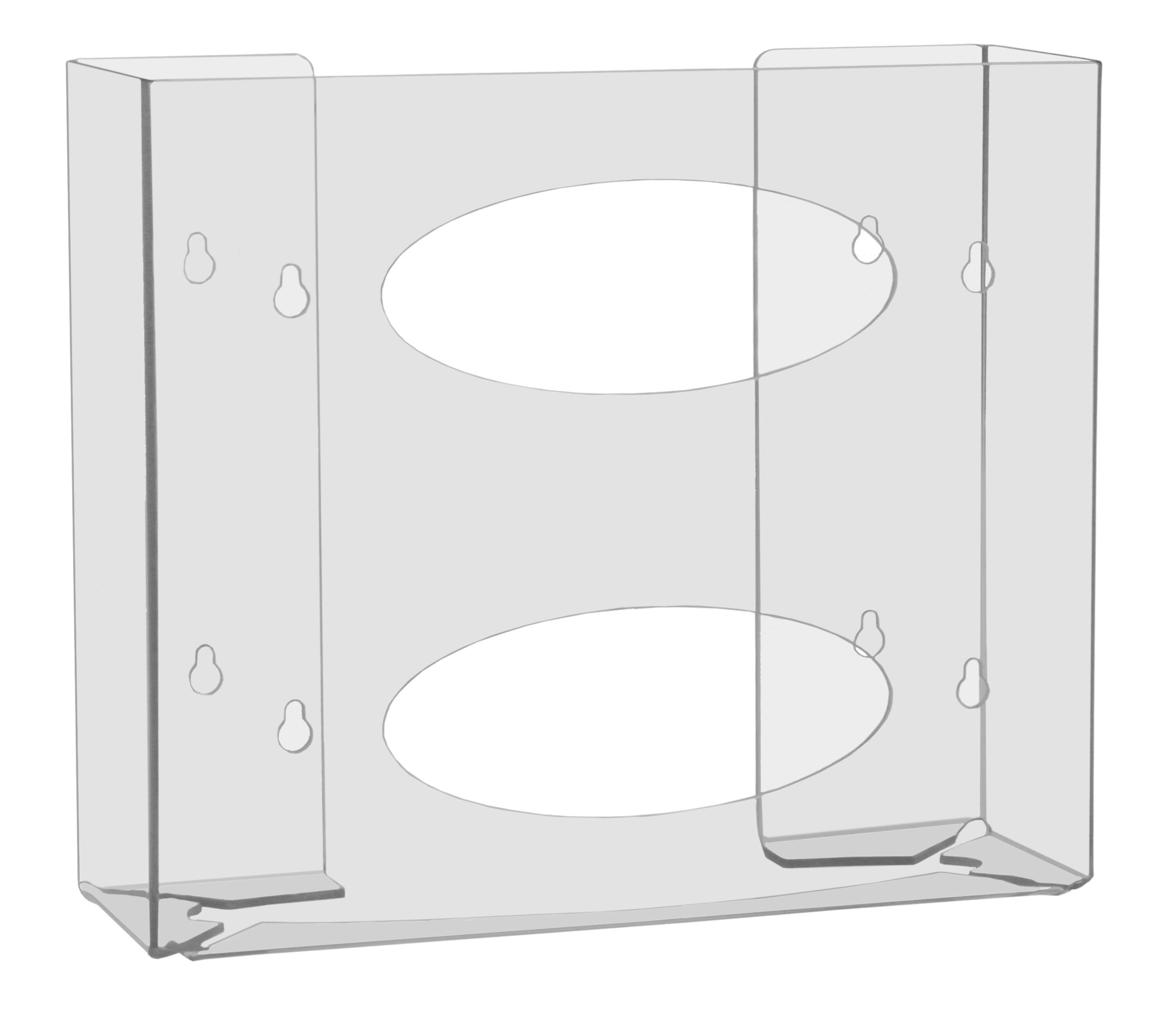 TrippNT 51144 Double Two Faced Glove Box Holder, 11'' W x 10'' H x 4'' D, Clear