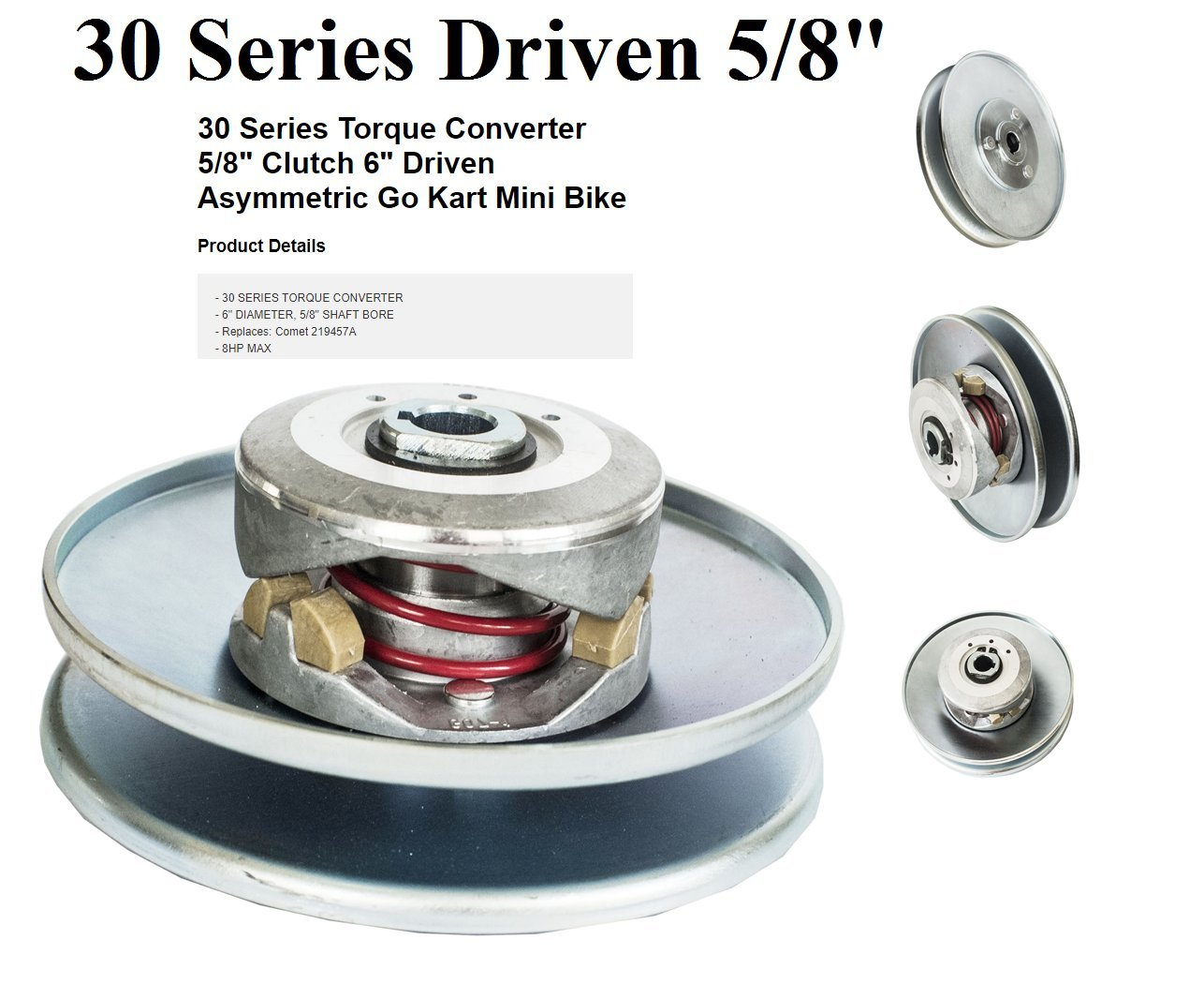 30 Series Torque Converter 5/8' Clutch 6' Driven Asymmetric Go Kart Mini Bike Jeremywell