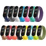 PIXESTT 15 PCS Straps for Mi Band 4/Mi Band 3, Smartwatch Strap Anti-Lost Silicone Designed Accessories Adjustable Wrist Stra