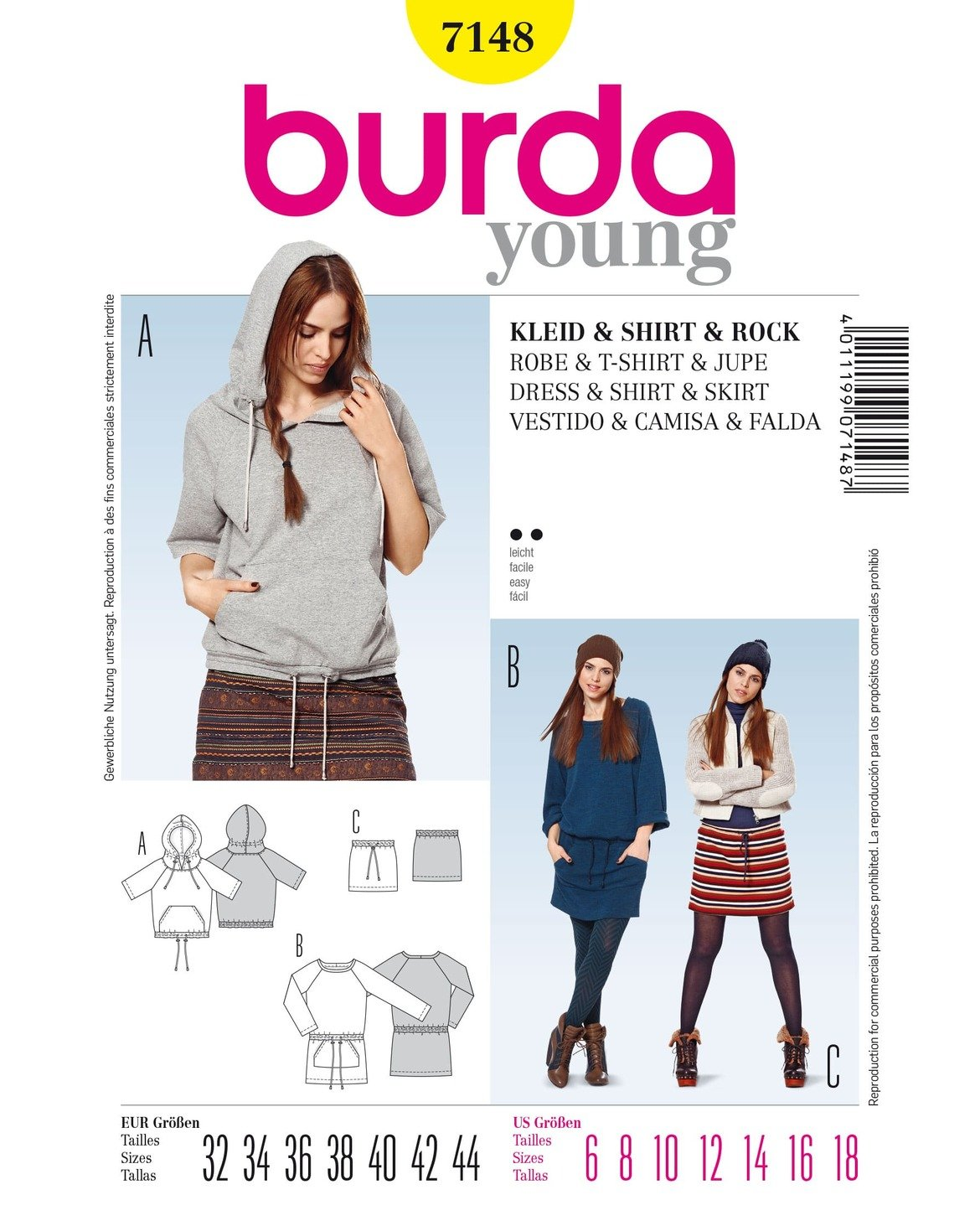 Amazon.com: 7148 Burda Young Shirt, Skirt, and Dress Sewing Pattern ...