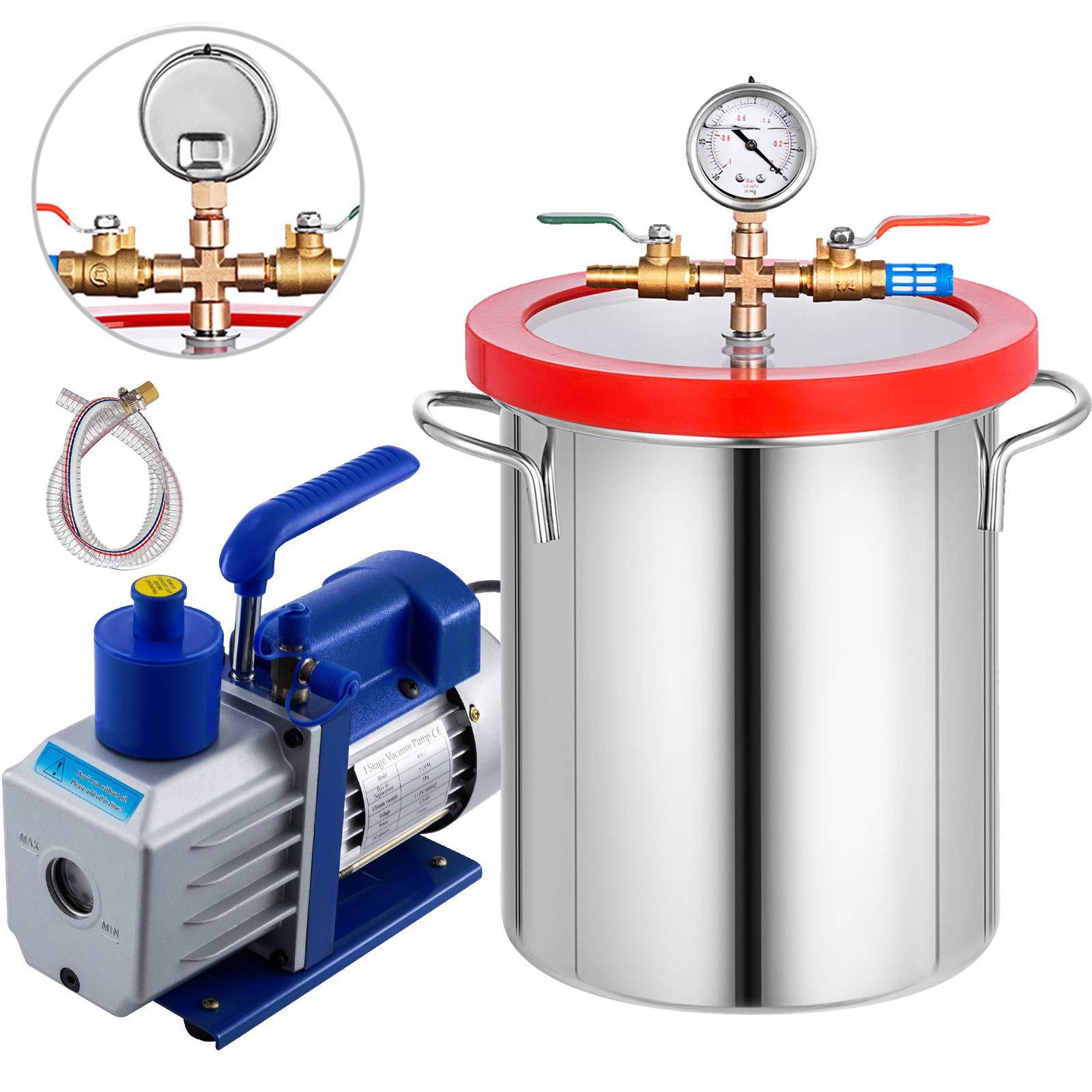 Bestauto 5 Gallon Vacuum Degassing Chamber Kit Stainless Steel Degassing Chamber Kit 18L Vacuum Chamber Kit with 5 CFM 1/2HP Single-Stage Vacuum Pump(5 CFM Vacuum Pump + 5 Gallon Vacuum Chamber) by Best In Auto