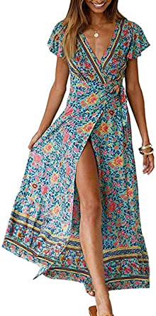 ZESICA Women's Bohemian Floral Printed Wrap V Neck Short Sleeve Split Beach Party Maxi Dress