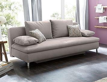 Funktionssofa James 200x102 Cm Dicklederoptik Grau Schlafsofa Couch Sofa Bettkasten Wohnzimmer