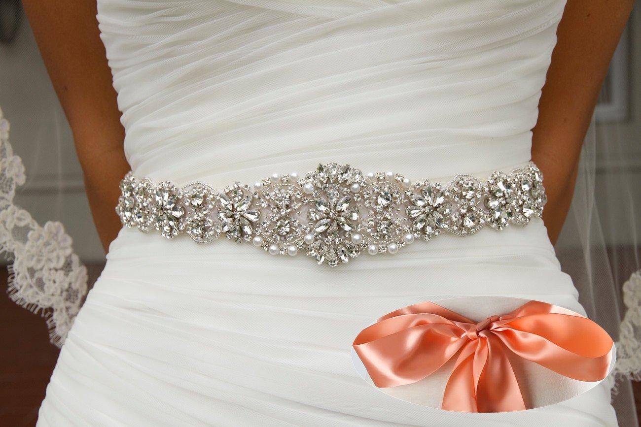ea437dc96771 QueenDream rhinestone sash Blush bridal belts for girls wedding sashes  womens wedding sash iridescent rhinestone belt