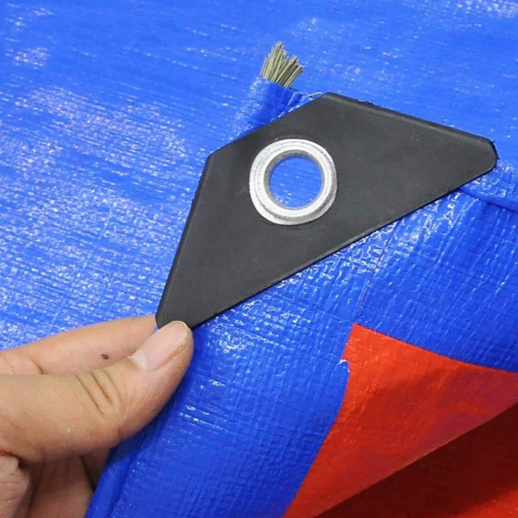 4m x 7m Gxmyb BÂche BÂche imperméable portative de PE avec l'ombre de Tissu résistant à la Pluie de Feuille de bÂche de Tente d'écran Solaire d'oeillets - 160g   m², Bleu + Orange (Taille   4mx6m)