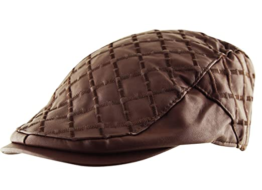 ea8b9eddf42 Itzu Men s Quilted Check Flat Cap Hat Faux Leather Cabbie Newsboy Golf  Gatsby Lined in Brown