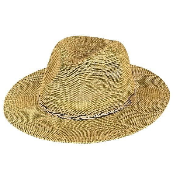 65cf95dcebb Barts Gamble Straw Fedora Hat - Natural  Amazon.co.uk  Clothing