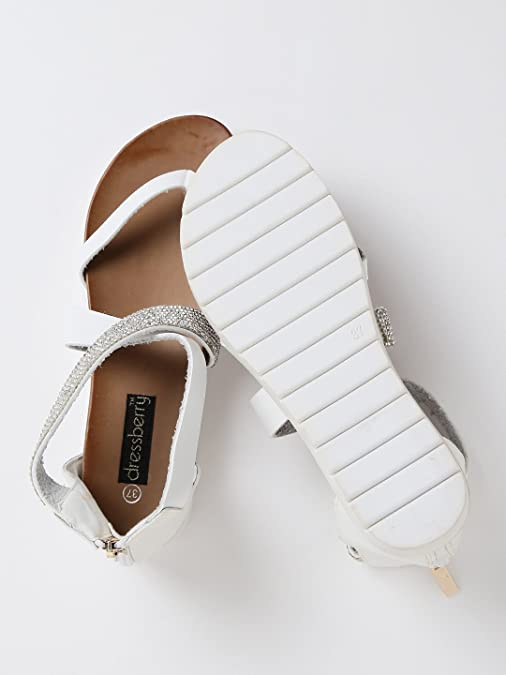 72b3f08259e DressBerry Women White Embellished Flatforms (6UK)  Buy Online at Low  Prices in India - Amazon.in