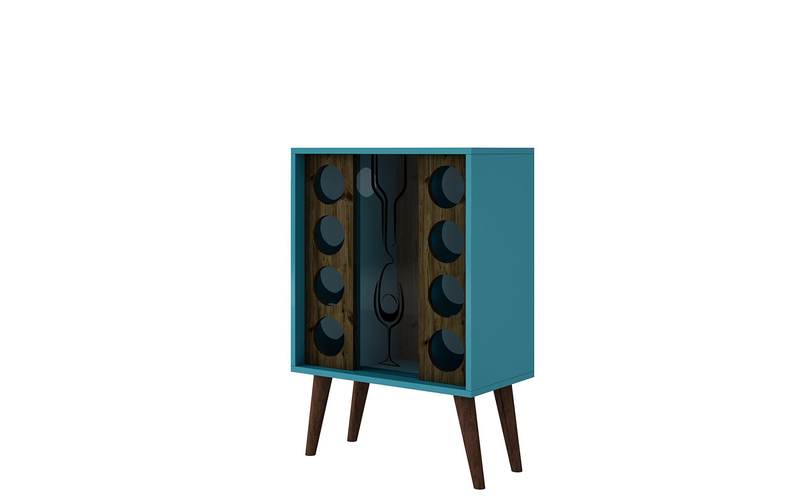 Manhattan Comfort Lund Collection Modern Square Design Reclaimed Wine Bar Cabinet, Holds 8 Bottles, Teal/Wood by Manhattan Comfort