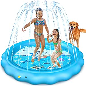 Dillitop Sprinkler for Kids, Splash Pad, Wading Pool and Kiddie Pool, Summer Outdoor Water Play Mat for for Boys Girls Fun Sprinkler Pool Sprinkler Toy Inflatable Spray Pad (Blue)