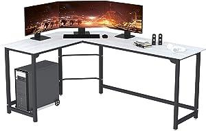 SZXKT L Shaped Desk Home Office Corner Desk Computer Table Sturdy Gaming Desk Writing Desk Workstation(White)