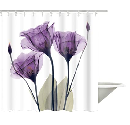 Image Unavailable Not Available For Color Ao Blare Purple Flower Shower Curtain