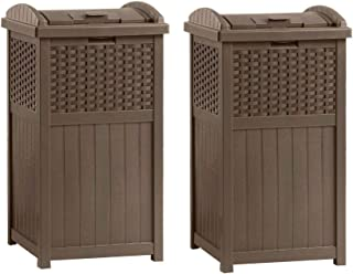 product image for Suncast GHW1732 Home Outdoor Patio Resin Wicker Trash Can Hideaway (2 Pack)