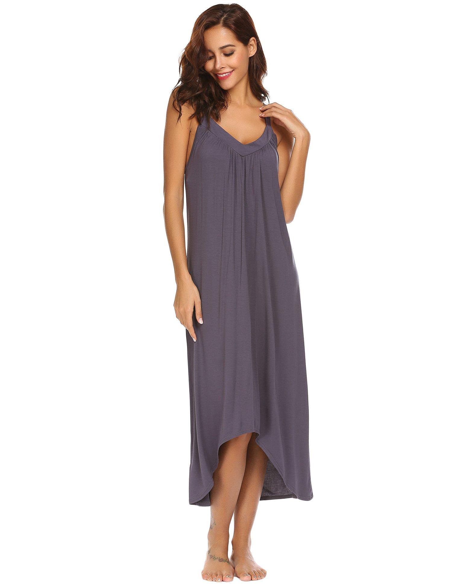 Ekouaer Womens Sleeveless Long Nightgown Summer Slip Night Dress Cotton Sleepshirt Chemise,A-dark Grey_6696,Small by Ekouaer (Image #3)
