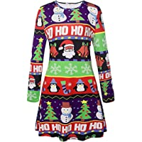 Herose Female Festive Patterns Ugly Christmas Dress Funny A-Line Minidress Outfits