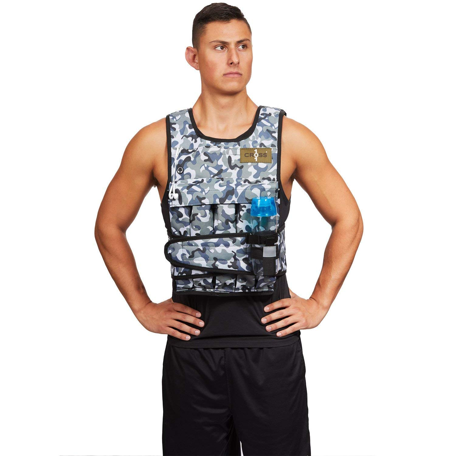 CROSS101 Adjustable Camouflage Weighted Vest 12LBS - 140LBS (Arctic - 40LBS)
