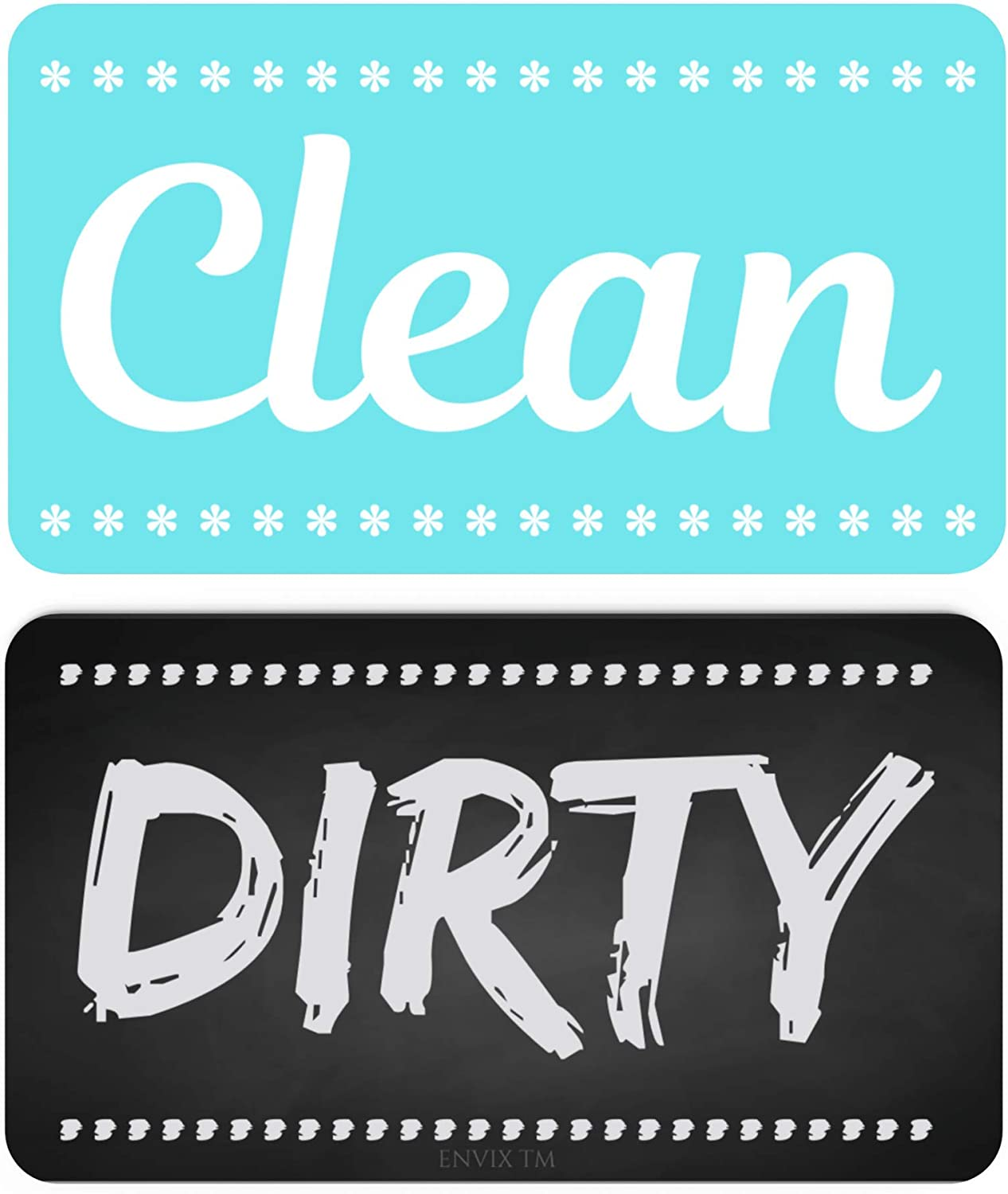 Dishwasher Magnet Clean Dirty Sign - Strongest Magnet Double Sided Flip - With Bonus Metal Magnetic Plate - Universal Kitchen Dish Washer Reversible Indicator - Aqua Chalk