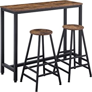 """AMOAK Bar Table Set of 3, Bar Table with 2 Bar Stools, 47 """"Pub Dining Height Table Kitchen Counter with Bar Chairs, Industrial for Kitchen, Living Room, Party Room, Retro Brown"""