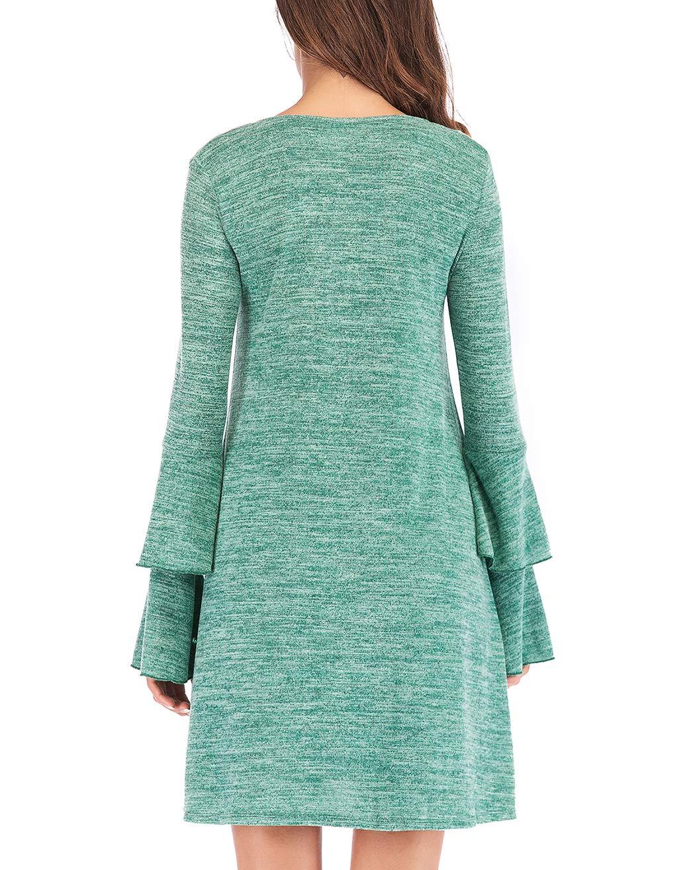 Eanklosco Women's Sweater Dress Flare Long Sleeve Knit Jumper Tops Criss Cross V Neck Loose Swing Tunic Dress (Green, XL)
