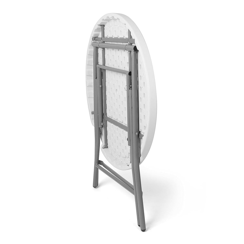 Vanage Gartentisch klappbar in weiß - runder Bistrotisch Bistrotisch runder / Stehtisch für Garten, Terrasse und Balkon - 80 x 80 x 110 cm 34dcd2