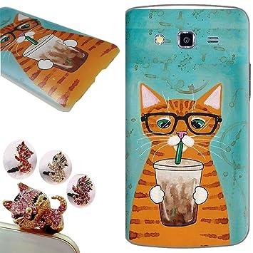 Samsung Galaxy Grand 2 funda ,CatStyle Samsung Galaxy Grand 2 Carcasa, (Gato té con leche) Protectora de Plastica de Duro PC Funda Tapa Case Cover ...