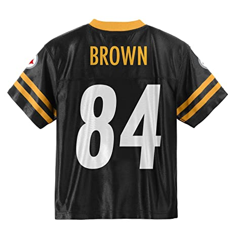 ab4af6b7740 Outerstuff Antonio Brown Pittsburgh Steelers #84 Black Youth Home Player  Jersey (Large 14/