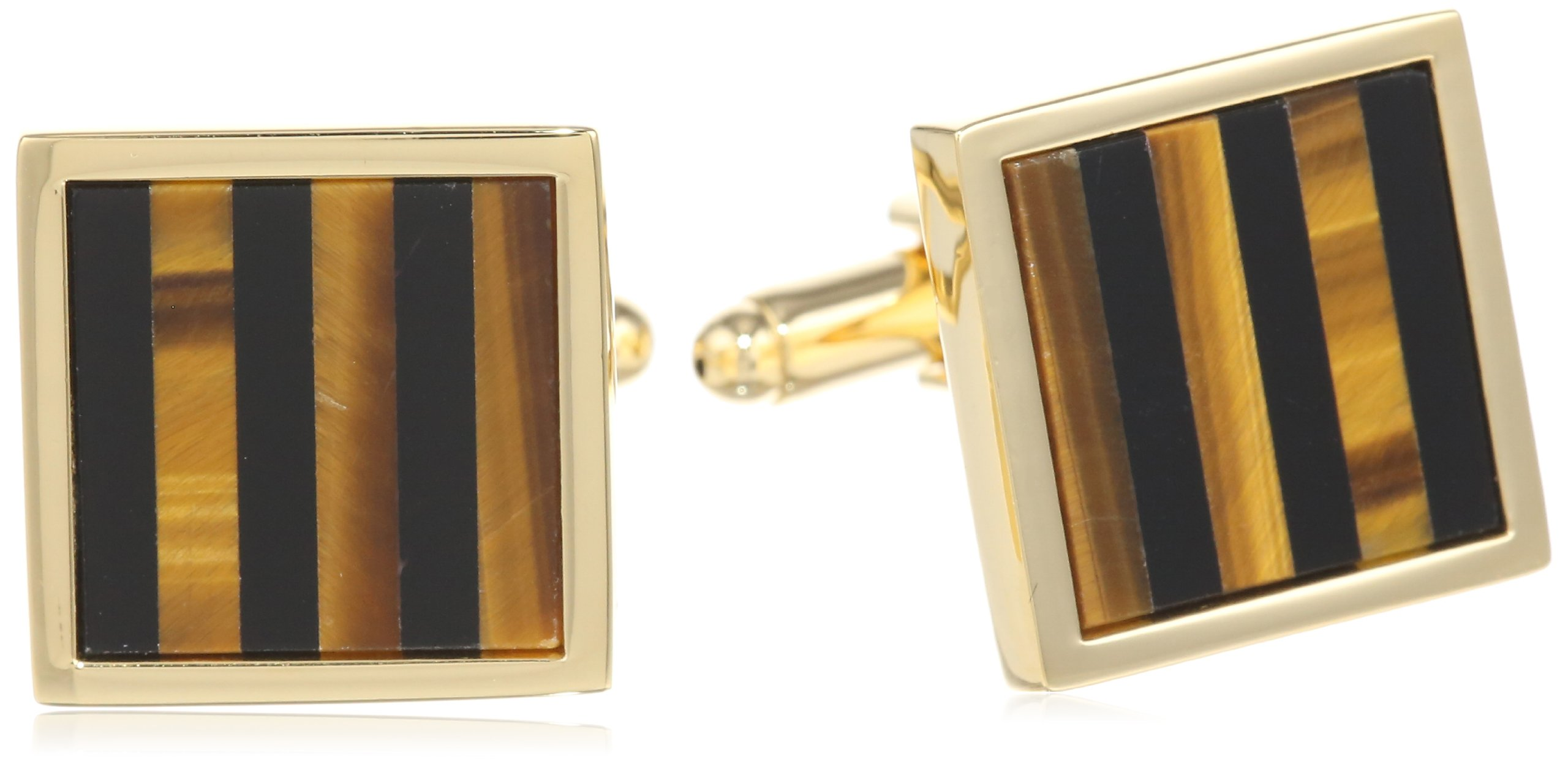 Stacy Adams Men's Square Cuff Link With Onyx and Tiger Eye Stripe, Gold, One Size