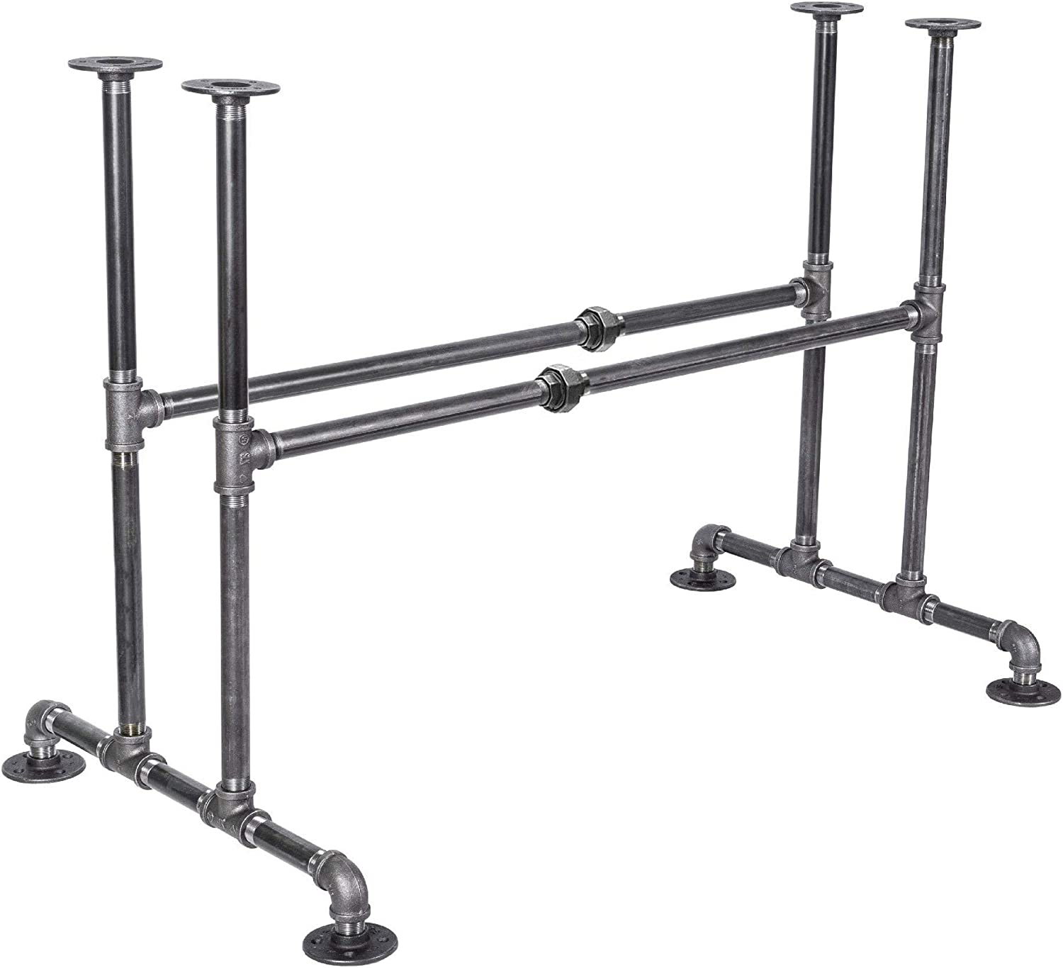 """PIPE DÉCOR Industrial Table Rustic Pipe Kitchen Metal Frame 3/4 Inch Pipe Base 30"""" Height Sturdy Simple Table Base for Home Office, Basement, Study, Bridge Design"""
