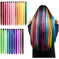 SILIN 24 Pcs Colored Clip in Hair Extensions Hairpiece Multi-Colors Hair Party Heat-Synthetic Hairpieces for Women Kids…