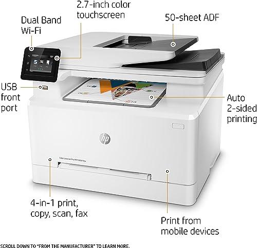 HP Color Laserjet Pro M281fdw Wireless Multifunction Laser Printer Renewed