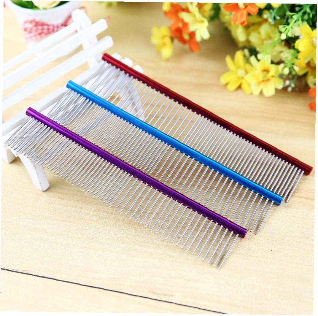 nsblln Best Choice for Pet Dogs 1pc Stainless Steel Comb Pet Grooming Brush Anti-static Hair Shedding Comb for Removing Tangles and Knots Professional Grooming Tool for Dog,Cat and Other