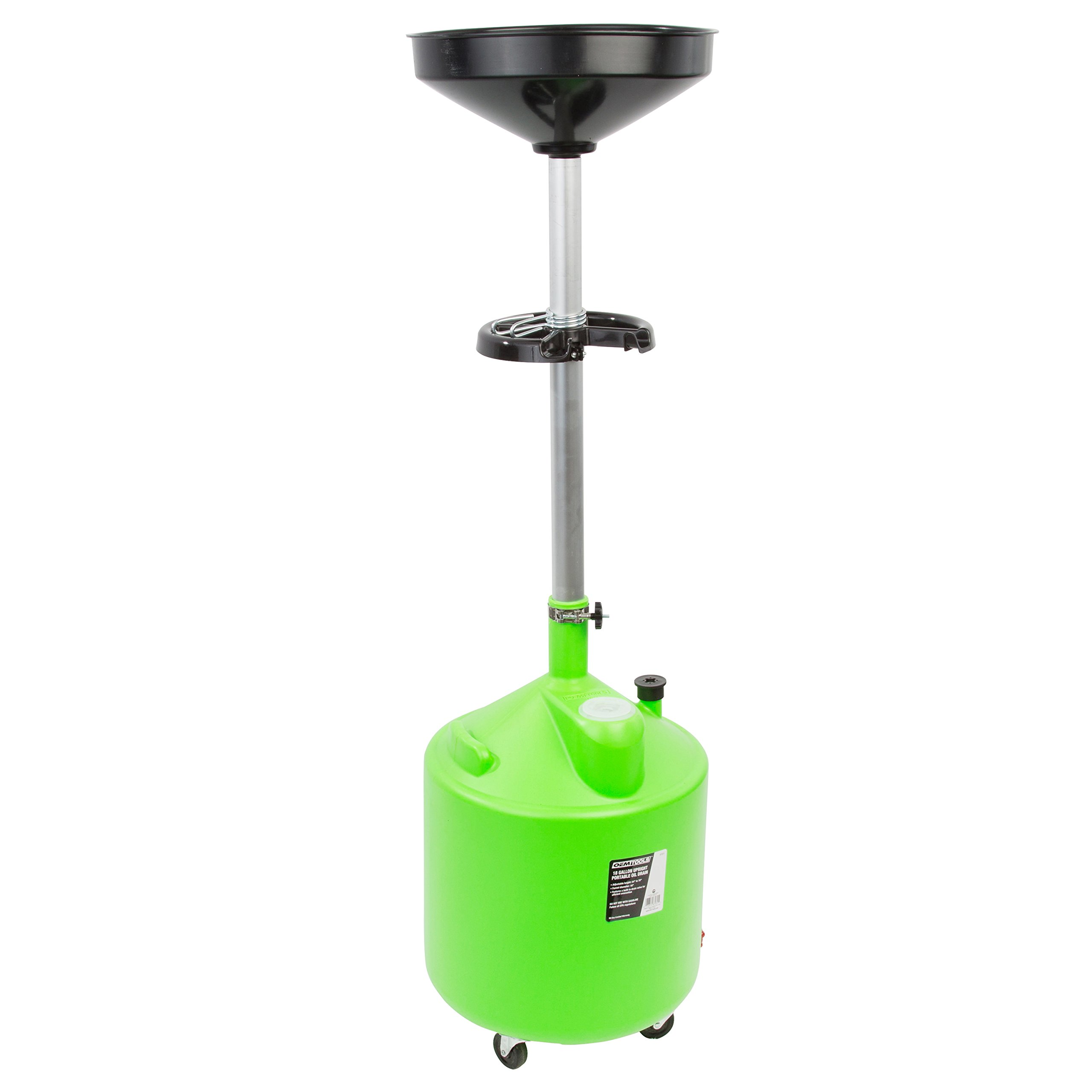 OEMTOOLS 87031 18 Gallon Portable Upright Lift Changing Car and Truck Motor Oil – Adjustable Height, Drain Valve and Tool Tray by OEMTOOLS (Image #6)