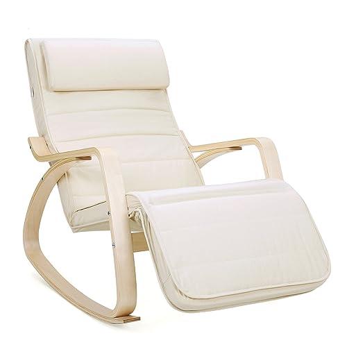 Songmics Fauteuil à bascule doté d'un repose-pieds, angle réglable à 5°, charge maximale 150 kg, beige LYY10M