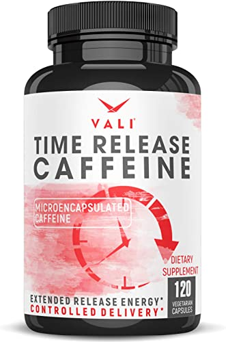 Time Release 100mg Caffeine Pills – 120 Veggie Capsules Microencapsulated for Extended Energy. No Crash Controlled Delivery Brain Booster Supplement for Sustained Mental Performance, Focus Clarity
