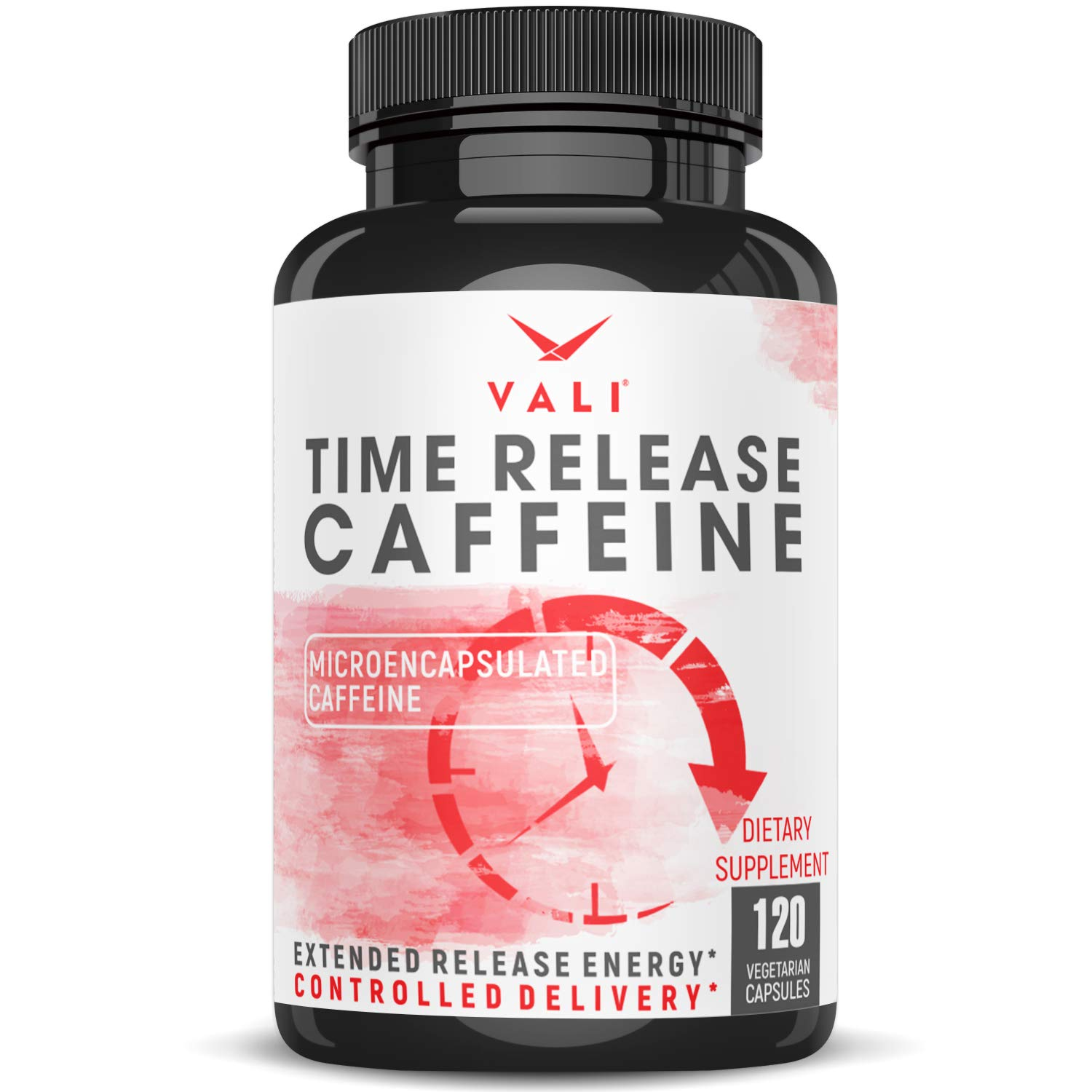 Time Release 100mg Caffeine Pills - 120 Veggie Capsules Microencapsulated for Extended Energy. No Crash Controlled Delivery Brain Booster Supplement for Sustained Mental Performance, Focus & Clarity by VALI
