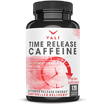 Time Release 100mg Caffeine Pills - 120 Veggie Capsules Microencapsulated  for Extended Energy  No