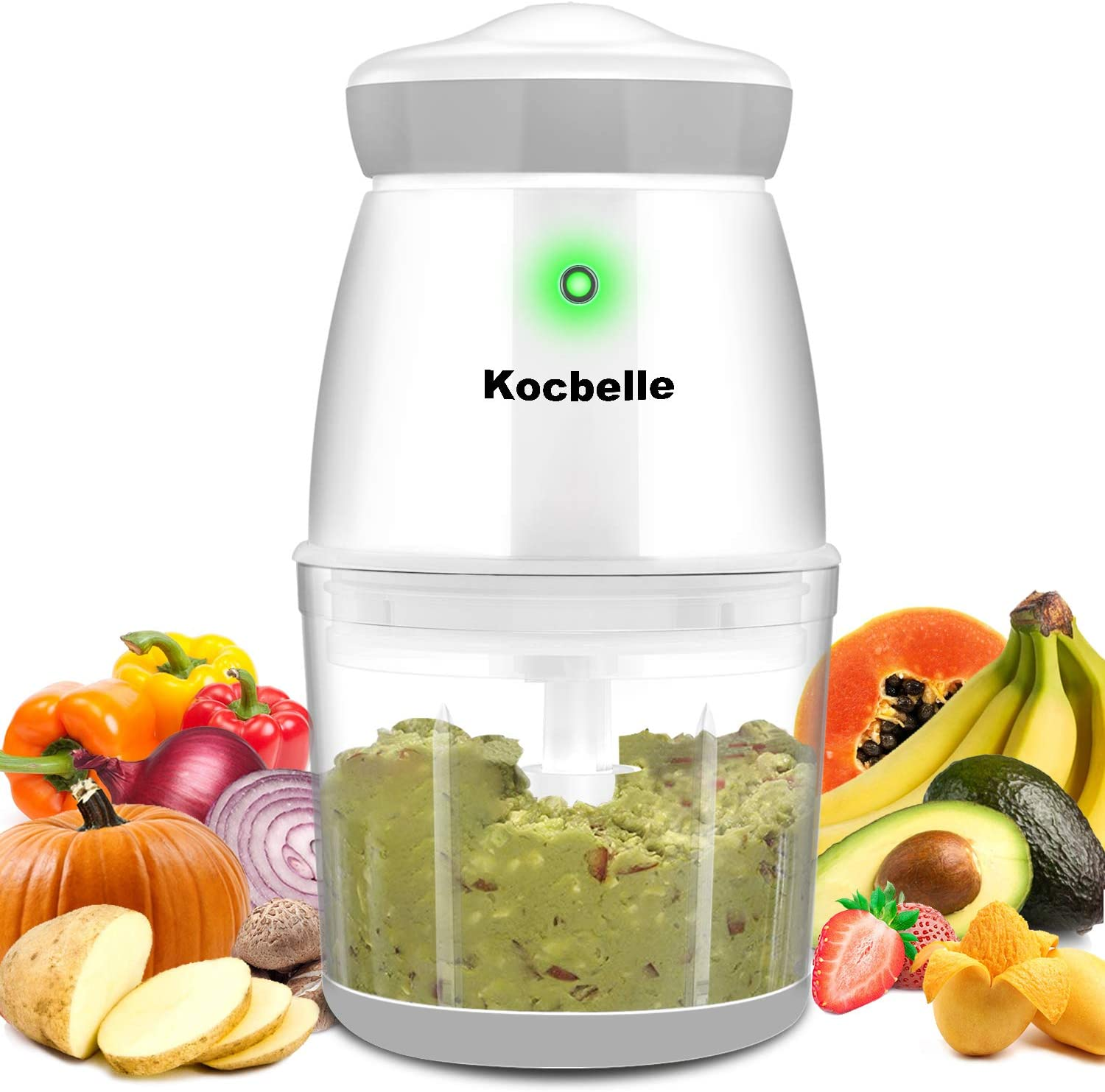 Portable Wireless Food Processor,Kocbelle 200-Watt Small Food Chopper 2.5 Cup Glass Bowl with Scraper for Blending, Mincing and Meal Preparation