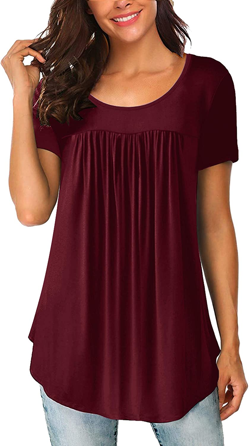 Yidarton Women's Scoop Neck Pleated Blouse Solid Color Tunic Tops Shirts