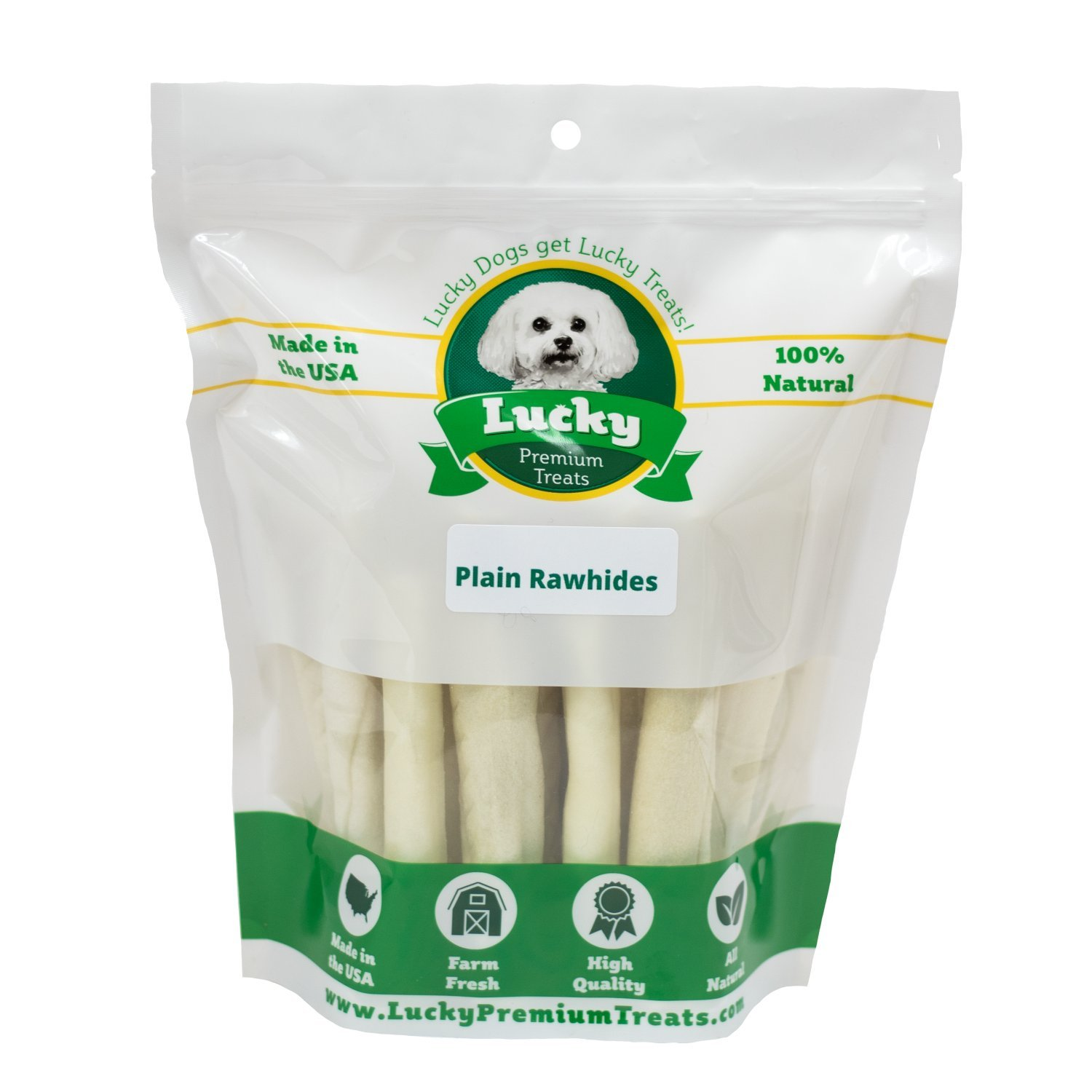 Lucky Premium Treats Plain Rawhide Dog Treats for Medium Dogs Made in The USA Only, 20 Chews by Lucky Premium Treats