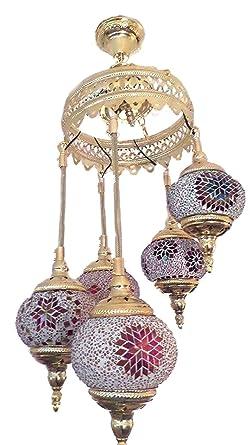 Lámpara de techo turco, hecha a mano 5 cristal y diseño de ...