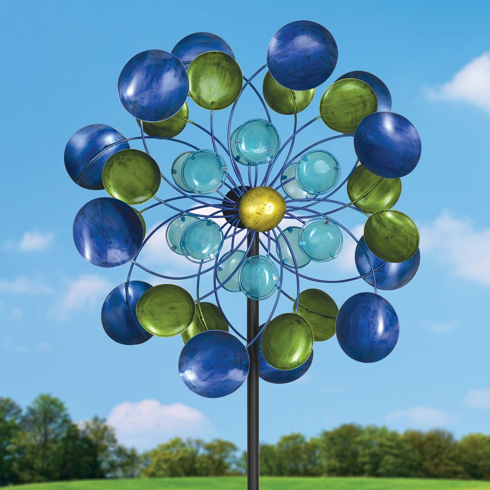 Bits and Pieces 63'' Multi-Colored Aurora Borealis Wind Spinner - Reflects Sunlight to Create Spectacular Glowing Effect Steel Outdoor Lawn and Garden Décor
