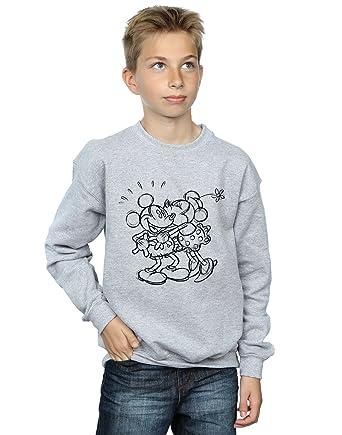 b68b25b29cc3 Disney Jungen Mickey and Minnie Mouse Kiss Sketch Sweatshirt  Amazon.de   Bekleidung