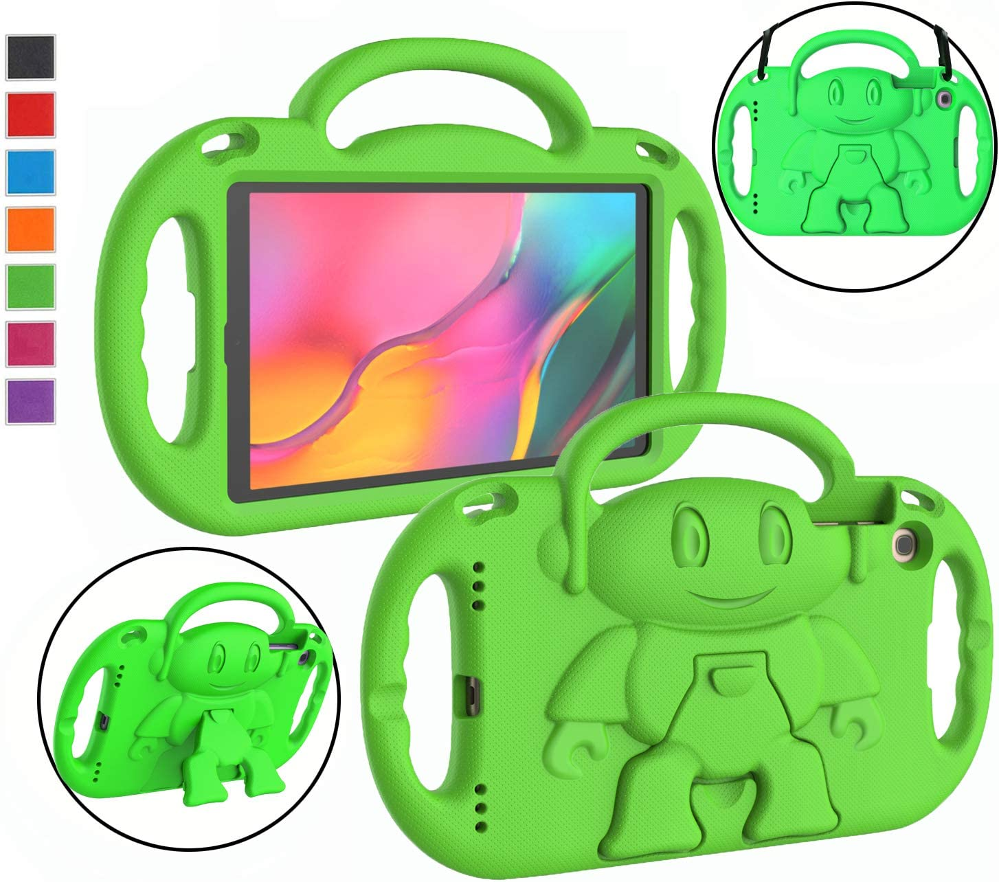 "LTROP Kids Case for Samsung Galaxy Tab A 10.1"" Tablet(2019) SM-T510/T515, Light Weight Shockproof Case Shoulder Strap Handle Stand Child-Proof Bumper Case Cover for Galaxy Tab A 10.1 (Green)"