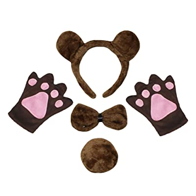 Petitebella Headband Bowtie Tail Gloves Unisex Children 4pc Costume (Brown Bear): Clothing