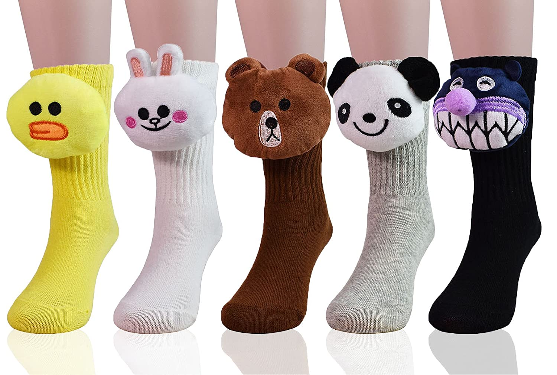 JIEEN Soft Warm Animal Tube Socks Developmental Toys Set for Baby Toddler