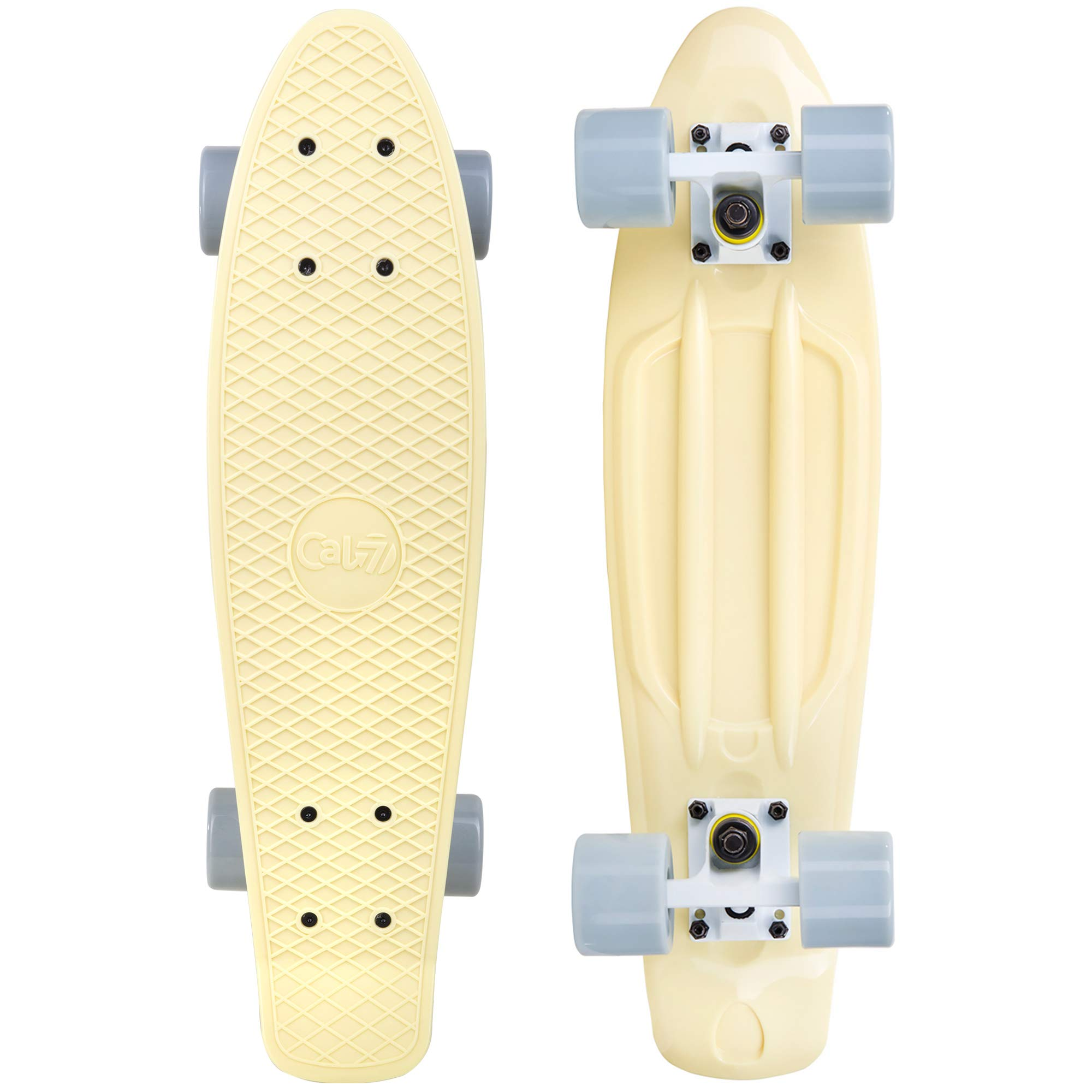 Cal 7 Complete Mini Cruiser | 22 Inch Micro Board | Vintage Skateboard for School and Travel (Snowdrop) by Cal 7